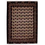 فرش دستباف قدیمی یک متری طرح ترکمن کد 7142
