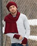 کلاه و شال گردن زیپ دار و دستکش بدون انگشت - قرمز