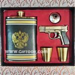 ست قمقمه جیبی و 2 لیوان استیل همراه با روکش چرم و فندک گازی چراغدار طرح تفنگ