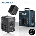 آداپتور 5 پورت و مبدل برق چندکاره مومکس Momax UA5D AC Travel Adapter توان 28 وات