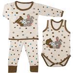 ست 3 تکه لباس نوزادی پسرانه طرح خرس و خرگوش
