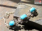 دستبند نقره فیروزه طرح یگانه زنانه - کد 52619