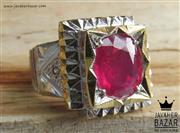 انگشتر نقره یاقوت آفریقایی سرخ و برلیان اصل شاهانه مردانه دست ساز - کد 47308