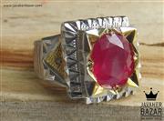 انگشتر نقره یاقوت آفریقایی سرخ و برلیان اصل شاهانه مردانه دست ساز - کد 47305