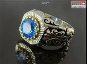 انگشتر نقره توپاز و برلیان اصل فاخر مردانه دست ساز - کد 52639