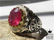 انگشتر نقره یاقوت و برلیان اصل لوکس مردانه دست ساز - کد 51632