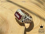 انگشتر نقره یاقوت آفریقایی و برلیان اصل طرح صفوی مردانه دست ساز - کد 51051