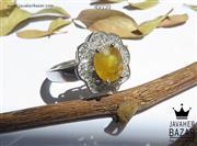انگشتر نقره یاقوت زرد طرح یگانه زنانه - کد 49330
