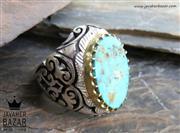 انگشتر نقره فیروزه نیشابوری و برلیان اصل شاهانه مردانه دست ساز - کد 44900