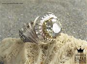 انگشتر نقره موزانایت و برلیان اصل شاهانه مردانه دست ساز - کد 45622