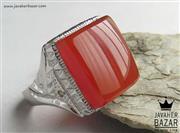 انگشتر نقره عقیق یمن و برلیان اصل شاهانه مردانه دست ساز - کد 47102
