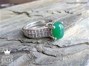 انگشتر نقره عقیق سبز طرح یگانه زنانه - کد 48338