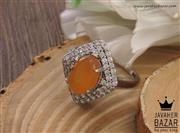 انگشتر نقره عقیق یمن شرف الشمس طرح یگانه زنانه - کد 38381