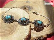 دستبند نقره فیروزه طرح یگانه زنانه - کد 53465