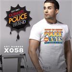 تی شرت کتان آستین کوتاه یقه گرد مدل X058 پلیس POLICE BODY SIZE