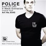 تی شرت کتان آستین کوتاه یقه هفت مدل X045 پلیس POLICE BODY SIZE