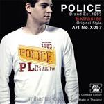 تی شرت کتان آستین بلند یقه گرد مدل X057 پلیس POLICE BODY SIZE
