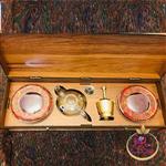 زعفران کادویی جعبه MDF  بزرگ با قوری و هاونگ 6گرم