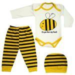 ست 3 تکه لباس نوزادی نی نی روز طرح زنبور کد M329