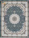 فرش ماشینی افرند 1500 شانه گل برجسته زمینه آبی کد 55011 12متری