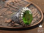 انگشتر نقره زبرجد و برلیان اصل لوکس مردانه دست ساز - کد 37121