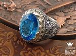 انگشتر نقره توپاز سوئیس و برلیان اصل شاهانه مردانه دست ساز - کد 37120