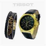 ساعت مچی مردانه Tissot  و دستبند چرمی  لاکچری 116