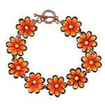 دستبند مسی مینا گالری آراسته کد 181019 طرح گل نارنجی