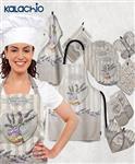 سرویس پارچه ای 16 پارچه آشپزخانه زارا طرح گل های بنفش