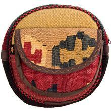 کیف دوشی گرد گالری ماد طرح ترکیب گلیم و جاجیم طرح 9 کد MAD 55 003