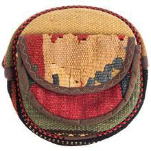 کیف دوشی گرد گالری ماد طرح ترکیب گلیم و جاجیم طرح 15 کد MAD 55 003