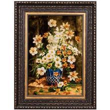 تابلو فرش گالری سی پرشیا طرح گل با گلدان آبی کد 911023