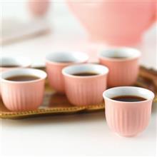 Zarin Iran Porcelain Inds Red Mehran Marbel Espresso Sets Pack of 6 High Grade