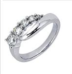 حلقه طلای سفید با نگین الماس