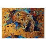 تابلو شاسی ونسونی طرح Tiger Art  سایز 30x40 سانتی متر