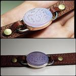 دستبند چرمی عقیق کبود خطی نقش یا قمر بنی ھاشم