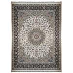 فرش ماشینی زمرد مشهد طرح نایین کد36010 کرم سورمه ای