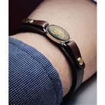 دستبند چرم اصل  حکاکی زیبای امیری حسین و نعم الامیر