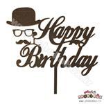 استند کیک هپی برس دی عینک و سبیل مشکی
