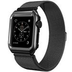 Mobest 42mm Milanese Stainless Steel Wrist Band with Metal Protective Case - Black