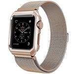 Mobest 42mm Milanese Stainless Steel Wrist Band with Metal Protective Case - Gold