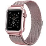 Mobest 42mm Milanese Stainless Steel Wrist Band with Metal Protective Case - Rose Gold