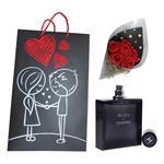 ست هدیه ادو تویلت مردانه مدل شانل Bleu de Chanel حجم 100 میلی لیتر به همراه دسته گل مصنوعی F1  و کیف هدیهB1