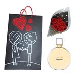 Chanel Chance Eau De Parfum For Women 100ml  With Artificial Bouquet F1 and Gift bag B1 Gift Set