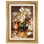 تابلو فرش گالری سی پرشیا طرح گل با گلدان سفالی کد 901292