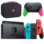 Nintendo Switch Blue and Neon Red Joy-Con  Bundle Game Console