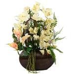 گلدان به همراه گل مصنوعی هومز طرح ارکیده  مدل 30780