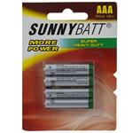 Sunny Batt Super Heavy Duty AAA Battery Pack of 4