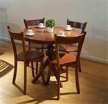میز و صندلی ناهار خوری گرد مدل پایه گلدانی باز و صفحه دور چوب