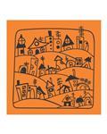 Gooshe Group پارچه کادو نارنجی طرح آبادی